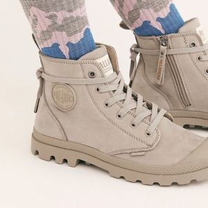 Free People Palladium Gray Canvas Ankle Boots